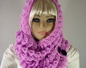 KNITTING PATTERN HOOD - Angel Wings Hooded Cowl Scarf pdf Pattern Instant Download