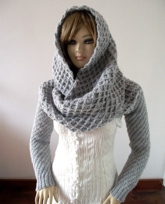 Knitting Pattern Hood Scarf With Sleeves Hooded Scarf Pattern Etsy