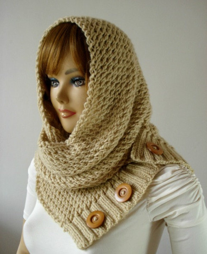 Knitting Pattern Hooded Cowl Scarf Loulou Hood Scarf Cowl Etsy