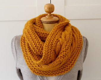 KNITTING PATTERN SCARF Chunky winter knit scarf pattern - London Scarf Cowl Pattern - Big Infinity Scarf Cowl pdf file Instant Download