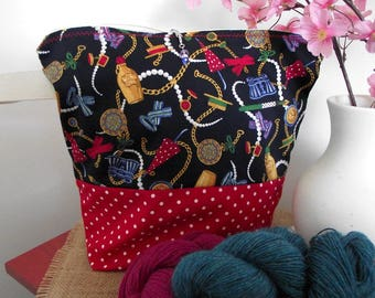 Knitting project bag wristlet zippered knitting crochet bag sock project bag shawl project bag medium-large size project bag for knitters #2