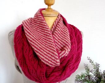 KNITTING SCARF PATTERN Classic Jazz Scarf woman knit Alpaca scarf easy lace stripes scarf Infinity style scarf pdf pattern Instant Download