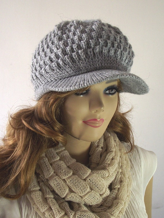 Knitting Pattern Hat Claire Newsboy Hat Knitted Brim Cap Etsy