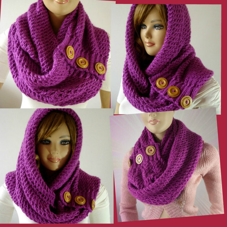 Knitting Pattern Hood Scarf Loulou Kiss Hooded Scarf Hood Etsy
