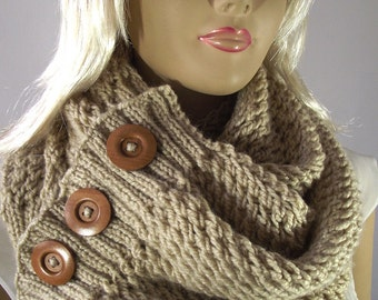 KNITTING PATTERN SCARF Hood - LouLou Scarf Cowl Pattern Big Scarf Cowl with wooden Buttons pdf knit pattern Instant Download women patterns