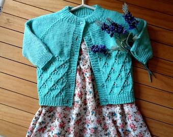 KNITTING PATTERN Baby Cardigan Catherine Baby Cardigan Sweater Lace Knit raglan easy knitting toddler sweater pdf pattern Instant Download