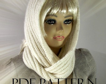 KNITTING PATTERN HOOD Scarf brioche - I love Snow - Hooded Infinity Scarf pdf pattern Instant Download learn brioche stitch easy knitting