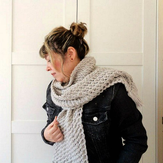 Knitting Scarf Pattern Central Park With Fringes Big Scarf For Etsy