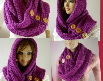 KNITTING PATTERN HOODED Cowl Scarf - LouLou Kiss Hood scarf Cowl - Hooded Infinity Scarf Knit Cowl Pattern pdf instant download