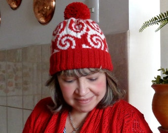 KNITTING HAT PATTERN Fair Isle Hat - Pop Art hat pattern - Knitted cozy curly woman girl Hat Pattern pdf Instant Download tutorial pompom