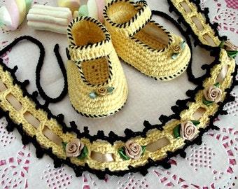 CROCHET PATTERN Baby Set Baby Crochet Shoes and Headband - Sophia Baby Set - pdf patterns Instant Download Baby Crochet Patterns