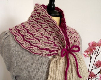 KNITTING PATTERN Cowl knit pattern Thailand Cowl brioche cables cord cowl knit pdf Instant Download learn brioche easy knitting