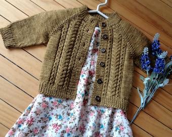KNITTING PATTERN Baby Cardigan Pattern Velvet Acorn Baby Cardigan Knit Sweater Lace Knit raglan easy knitting toddler pdf Instant Download
