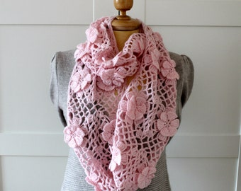 CROCHET PATTERN SCARF Lace Scarf - Floral Whisper scarf - Lace Crochet Scarf pdf pattern Instant download woman crochet scarf pattern