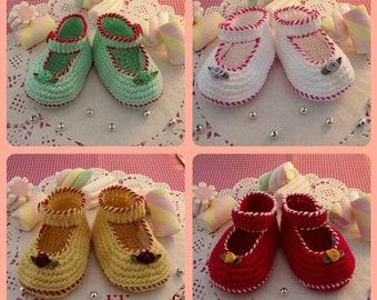 CROCHET PATTERN Baby Shoes Pattern - Little Lilly crochet Shoes Pattern ballerinas for babies girls pdf patterns Instant Download