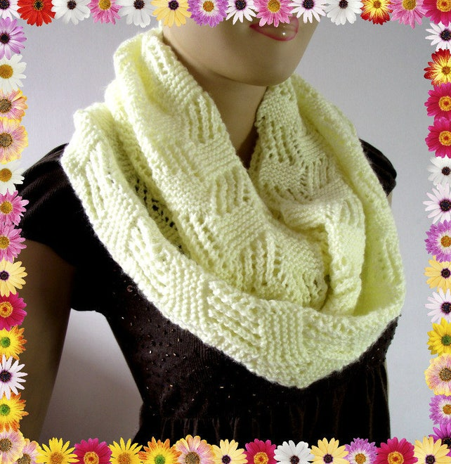 Knitting Pattern Scarf Infinity Scarf Cool Breeze Scarf Pdf Etsy