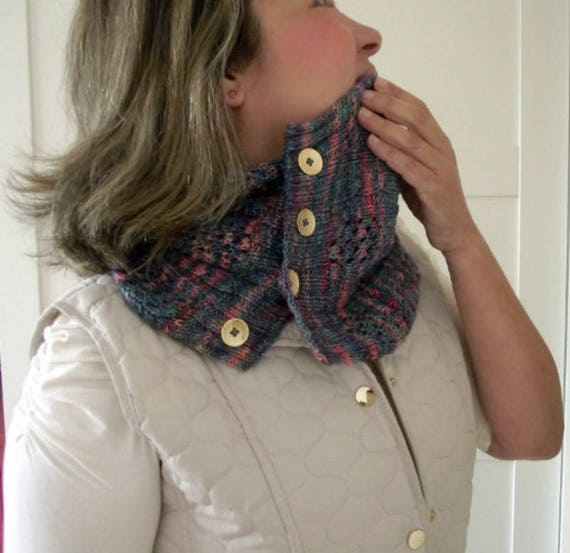 Knitting Pattern Cowl Happy Valley Cowl Easy Lace Using Etsy
