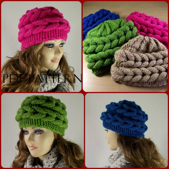 Knitting Hat Pattern Aralenna Hat Beret Knit Hat Pattern Etsy