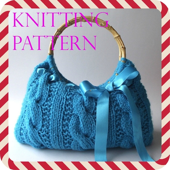 Knitting Bag Pattern Handbag With Lace Ribbon Lucia Bag Etsy