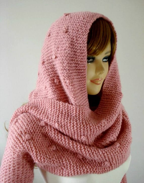 Knitting Pattern Hood Scarf Celine Hooded Scarf With Long Etsy