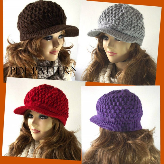 Knitting Hat Pattern Newsboy Hat Claire Newsboy Hat Pattern Etsy