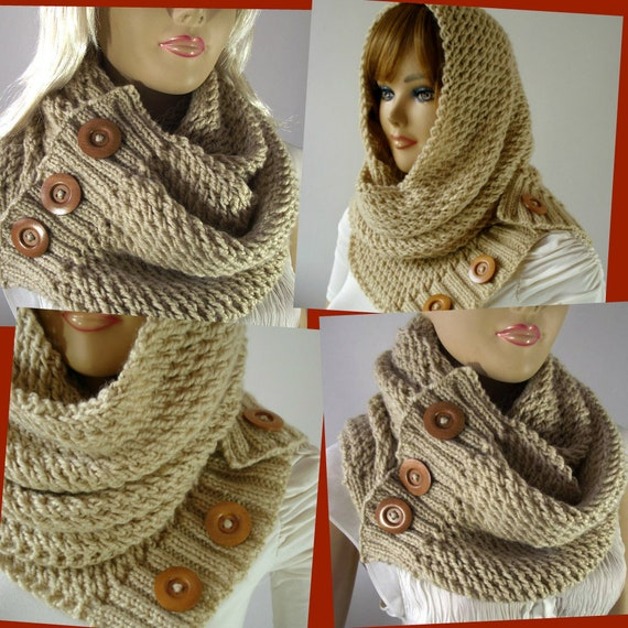 KNITTING PATTERN SCARF Hood Cowl LouLou Scarf Hooded Cowl   Etsy