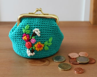 CROCHET PATTERN BAG Spring Coins purse embroidery pattern Crochet Purse Bag pdf pattern Instant Download easy crochet purse pattern