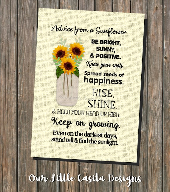 Printable Art Advice from a sunflower quotation sunflowers digital art print yellow flowers in jar
