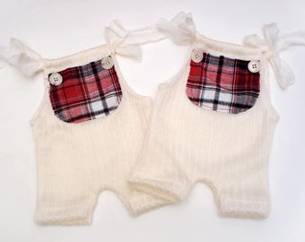 dea9d04ec5f8 Newborn   Sitter 6-12M - Ivory Red Romper Holiday Plaids- Newborn  Photography Props