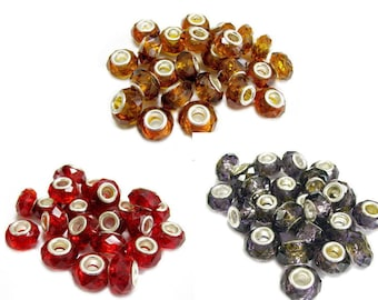 Big Hole Beads - Large Hole Beads - Glass Spacer Finding Beads - DIY Craft Supplies For Jewelry Maker Beader - Pack Of 24 Pcs - 3 Colors