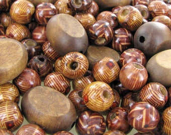 Vintage Craft or Macrame Multi-Colored Natural Wood Beads ~ 46 beads 5 rings