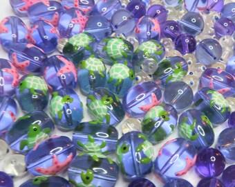 Mix Lot Glass Beads Bulk For Bracelet Jewelry Making - Sea Star Fish Turtle Beads - DIY Dainty Beading Ocean Nautical Animal Beads 144 pcs