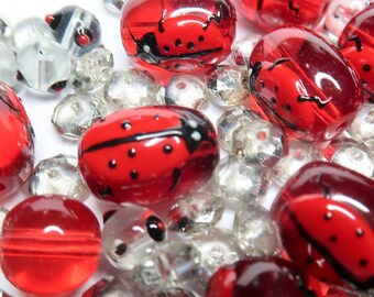 Mix Lot Glass Beads Bulk For Bracelet Jewelry Making - Ladybug Beetle - Ladybird Red Beads - Red Clear DIY Dainty Beads Findings 140 pcs