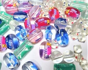 Mix Lot Glass Beads For Bracelet Jewelry Making -Tropical Fish Sharks Seahorse - DIY Dainty Beading - Bulk Bead Finding 140 pcs