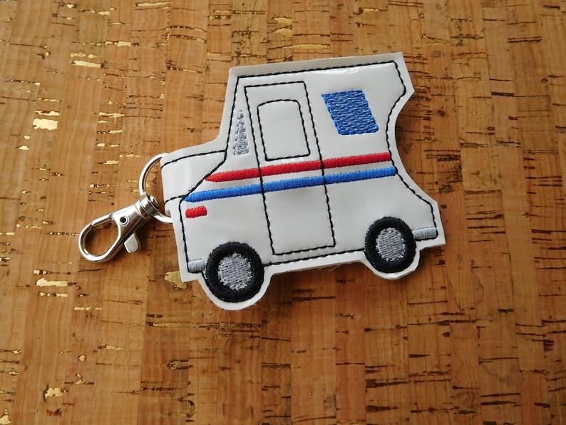 Mail Truck / Postal Truck Hand Sanitizer Keyring / Bag Tag