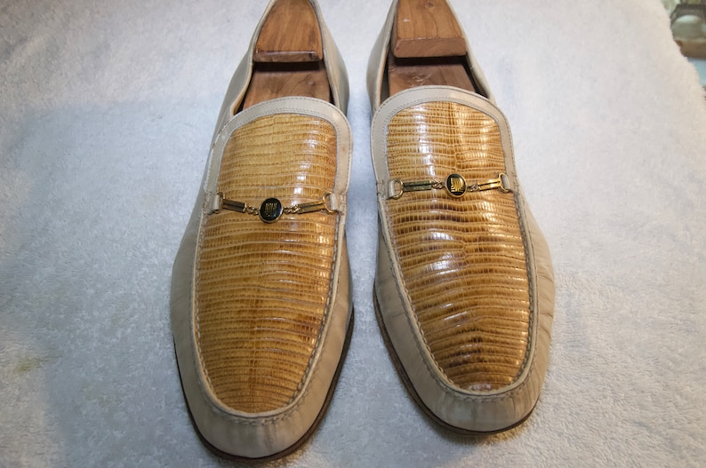b5fe17d6bcd Vintage Lanvin Snakeskin and Leather Mens Loafers Size 10