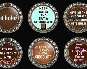 Chocolate Quotes Fridge Kitchen Magnets Office Scrapbooking Bottle Caps Set of 6