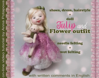 """Masterclass Online Needle Felting Workshop - Online Tutorial and Kit for Anna Potapova's 'Tulip"""" Doll. Free Shipping"""
