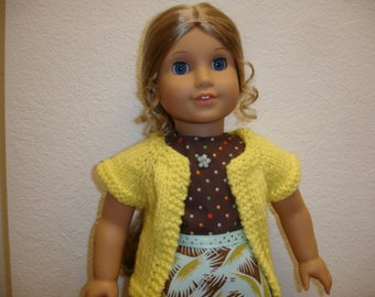 """Am Girl Style 18"""" Doll Teal/Gold/Brown Print Dress w/Yellow Sweater"""