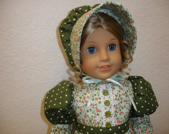 """Am Girl Style 18"""" Doll Colonial/Frontier/Prairie 2 pc Mint Green Flowered/Green Dot Print Dress and Hat"""
