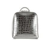 Handmade leather backpack JOE small backpack in silver, croc crocodile alligator (Italian calfskin - FREE shipping)