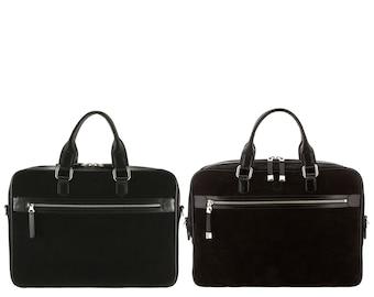 37072bef86b7 Navy blue leather business bag weekender DENIS 3-part zip x | Etsy