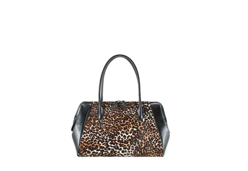 26c2cf86315 Sac à bandoulière en cuir PATRICIA en noir w. léopard marron