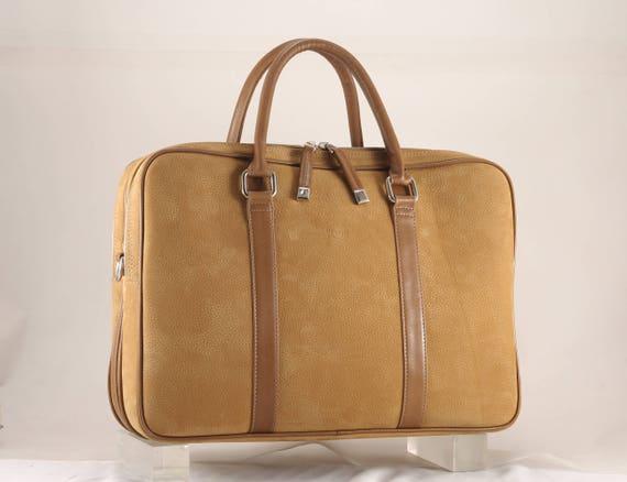 45c4de3f6beb Cognac suede leather briefcase | DENIS 3-part in tan brown x pochette TEGE  small | (Premium bag, unique, Italian calfskin - FREE shipping)