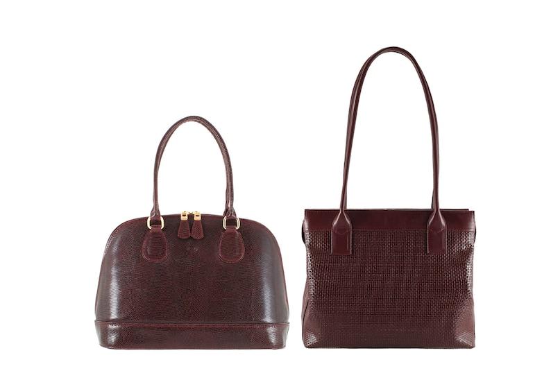 Luxury, unique, handmade, Italian calfskin - FREE shipping ANIKO in lizard x NORA in woven braided Burgundy leather shoulder bag