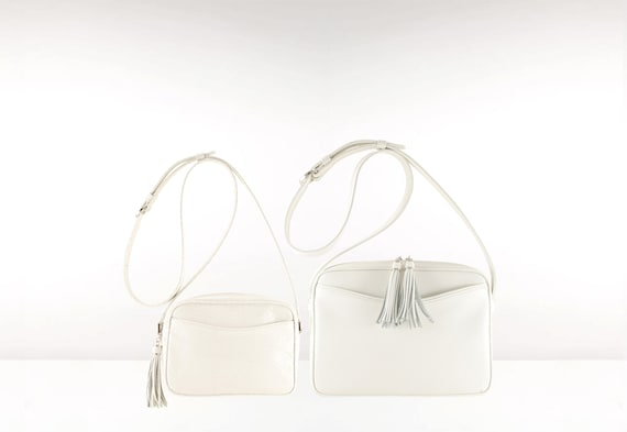 216adee8c3 White leather crossbody bag small MARA in pearl snake