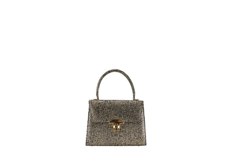 c1d0df6985 Gold leather evening bag, mini bag JASMIN x-small, in Diamond print |  (Premium bag, unique, Italian calfskin - FREE shipping