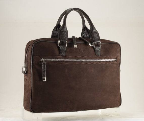 4c618f6b3a34 Brown leather bag | pochette TEGE small x briefcase DENIS in suede -  men/unisex, business bag | (Unique, Italian calfskin - FREE shipping)