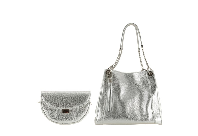 e108cee094 Silver, pebble grained leather bag | belt bag DEE x tote GITTA | (Unique,  Italian calfskin - FREE shipping)