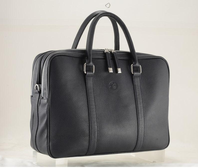 briefcase DENIS 3-part Premium bag, unique, Italian calfskin - FREE shipping Navy blue grained leather mens bag